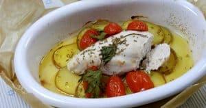 Haähnchenbrust auf Kartoffelscheiben